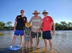 Holiday fun on Chambers Island, Maroochy River.Chris