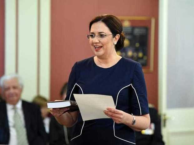 Queensland Premier Annastacia Palaszczuk swears in during a ceremony at Government House in Brisbane, Tuesday, December 12, 2017. Ms Palaszczuk's cabinet was today sworn in after winning the November 25 state election.