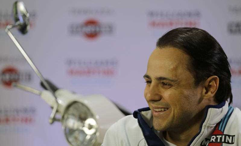 Williams driver Felipe Massa, of Brazil, smiles during a press conference, in Sao Paulo, Brazil, Wednesday, Nov. 8, 2017. Massa will compete Sunday in the Brazilian Formula One Grand Prix at Sao Paulo's Interlagos circuit.