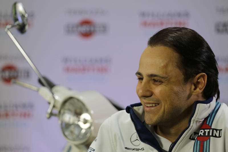 Williams driver Felipe Massa, of Brazil, smiles during a press conference, in Sao Paulo, Brazil, Wednesday, Nov. 8, 2017. Massa will compete Sunday in the Brazilian Formula One Grand Prix at Sao Paulo's Interlagos circuit.