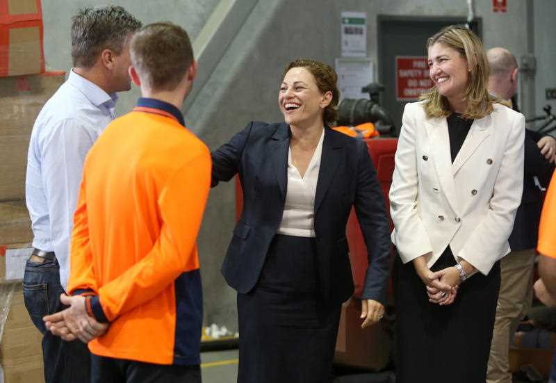 Deputy Premier and Treasurer Jackie Trad (centre) and Employment Minister Shannon Fentiman (right) visit All Purpose Transport in Logan, Brisbane, Thursday, December 14, 2017. The Ministers visited workers who have started jobs thanks to the Back To Work Queensland program.