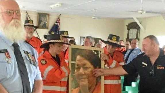 The memorial of long-time SES volunteer Mrs Vivianne Brown, held at the Rosedale Community Hall on Tuesday.