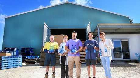 Kevin Robinson, Irene Martin, Shaun Martin, Brad Crosthwaite and Tessa Martin at Yaru Water facility which won the Westpac Business of Tomorrow award.