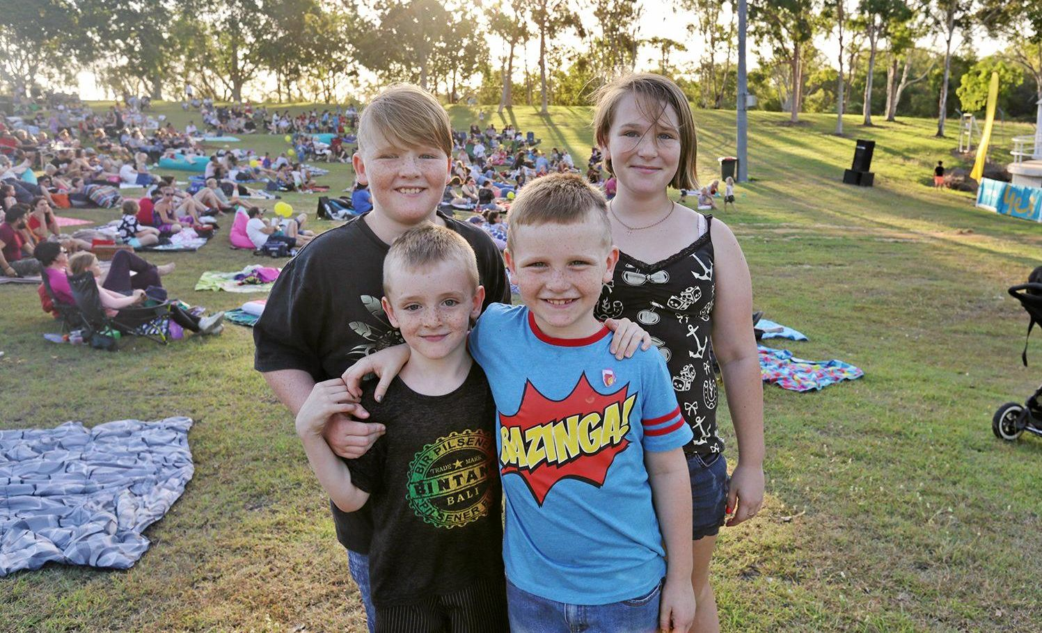 L-R James Donald, Chris Donald, Oliver Donald and Maddy Oliver at the Optus Movies Under the Stars at the Rockhampton Music Bowl.