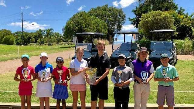 All 18 hole winners at the Junior Christmas Open (from left) Lily Saba, Emily Martin, Tiyara Samarartne, Amy O'Connor, Ben Stieler, Hans Yim, Michael Pattemore and Jackson Steinhardt.