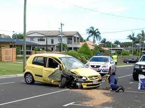 Car crashes into pole on Esplanade
