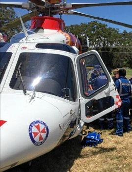 The Westpac Life Saver Rescue Helicopter was tasked to Brunswick Heads to transport a woman with suspected spinal injuries after she jumped off a bridge.