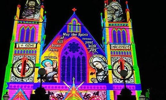 Hundreds of people turned out to marvel at the first screening of the Lights of Christmas at Rockhampton's St Jospeh's Cathedral.