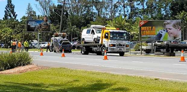 A 57-year-old Canadian tourist died at the scene of a multi-vehicle traffic crash outside the Australia Zoo on Friday.