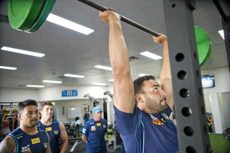 AT WORK: Gold Coast Titans prop Ryan James during a closed training session at The Fit Lab.