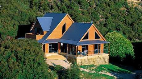 Exterior of Forsyth Lodge on Forsyth Island, New Zealand.