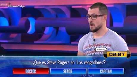 Alberto was asked a question about Captain America and failed to realise that the answer was on his shirt. Picture: Antenna3 TV