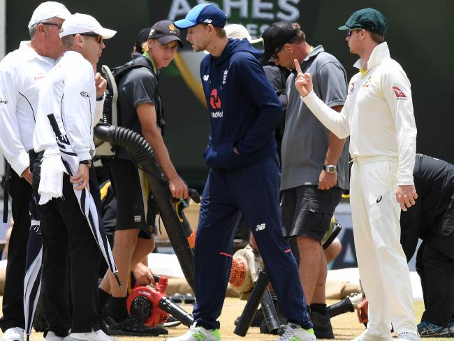 Joe Root wasn't happy at being told to bat on the damp deck.