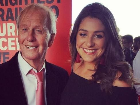 Paul Hogan with his granddaughter Mylee Hogan who works for Channel 7. Picture: Instagram