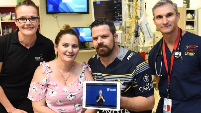 Rachel Lai, Deaf Services Queensland, patient Rachel Donnan, partner Craig Frazer and Townsville Hospital emergency department staff specialist Dr Ben Butson.