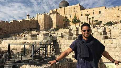 Hayne taking in the sights of Jerusalem.