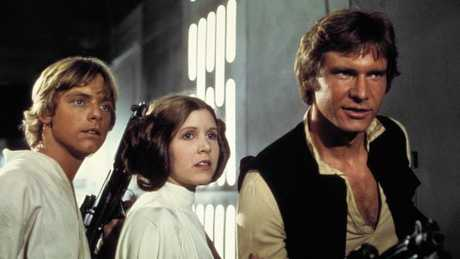Mark Hamill, Carrie Fisher and Harrison Ford in the original Star Wars movie.