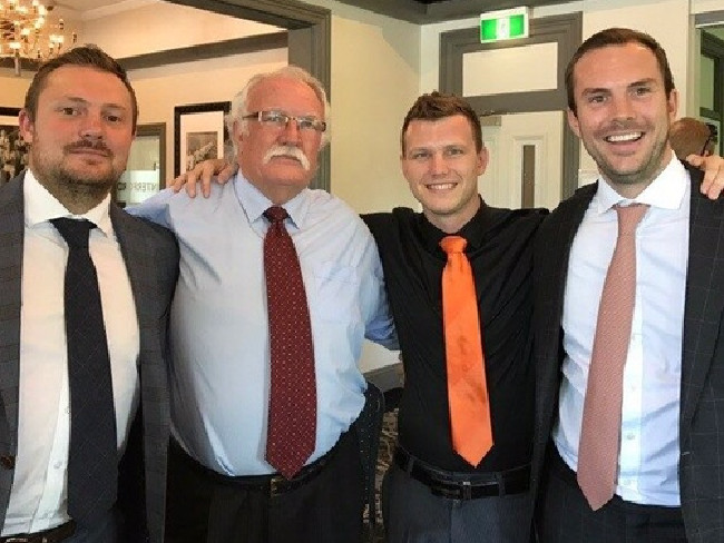 Jeff Horn (second from right) with (from left) Shaun, Chris and Daniel Hannay.