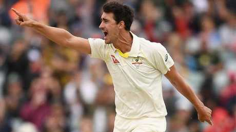 Mitchell Starc celebrates getting the wicket of James Vince.