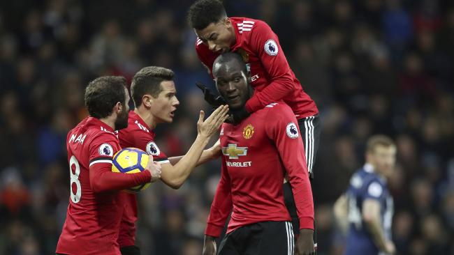 Manchester United's Romelu Lukaku does not celebrate his goal.