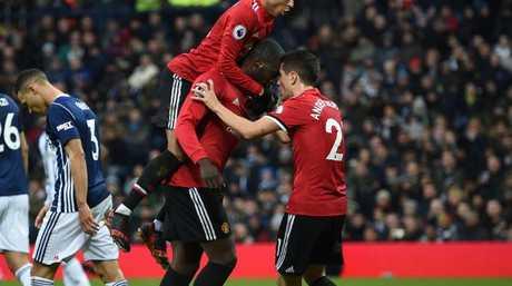 Manchester United's Belgian striker Romelu Lukaku after scoring.