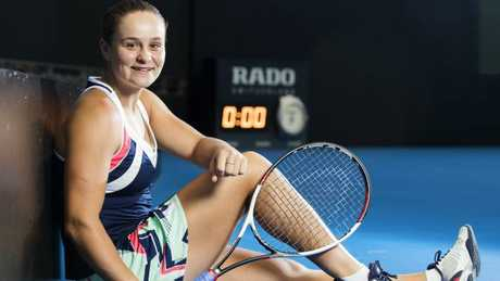 Ash Barty at Pat Rafter Arena in Brisbane. Picture: Lachie Millard