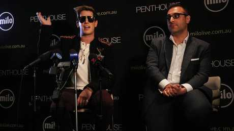 Milo Yiannopoulos speaks alongside Penthouse Australia/NZ publisher Damien Costas in Sydney. Yiannopoulos was in Australia for his Troll Academy Tour. Picture: Lisa Maree Williams