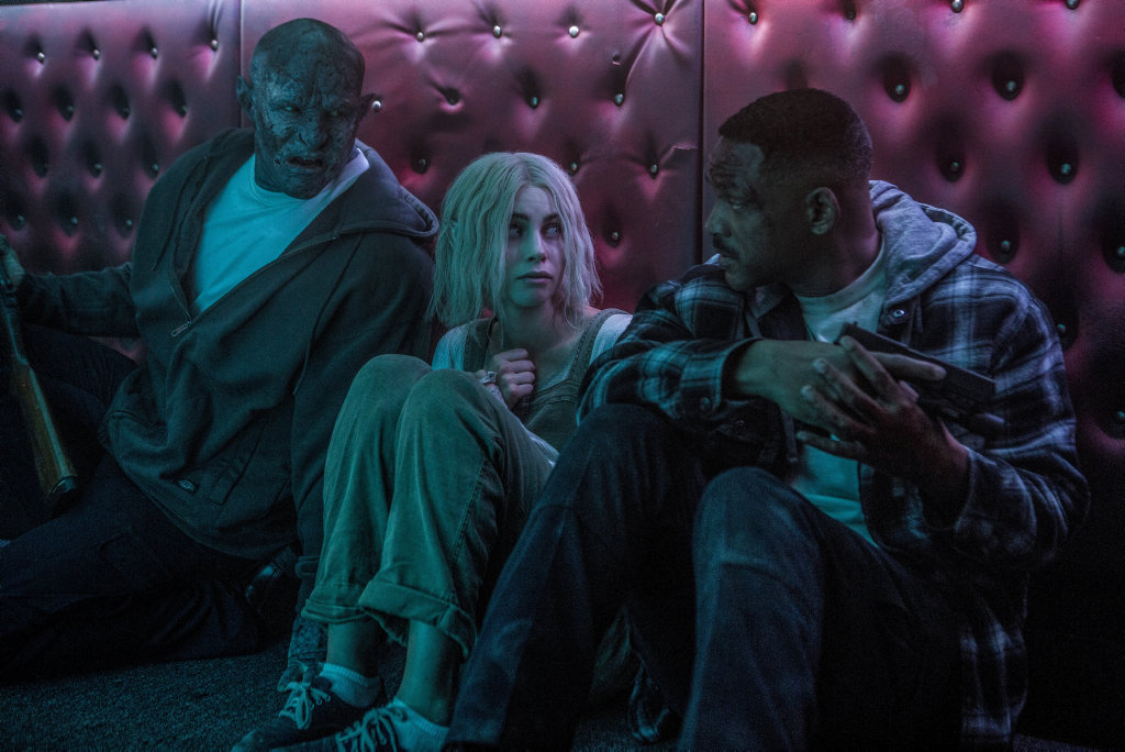 Joel Edgerton, Lucy Fry and Will Smith in a scene from the movie Bright.