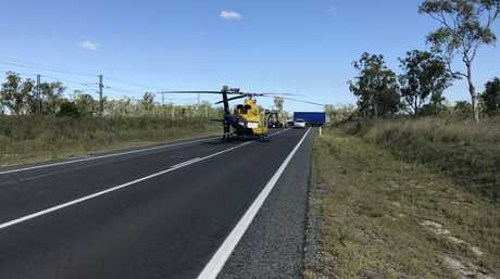 The RACQ Capricorn Helicopter Rescue Service airlifted a man to the Rockhampton Hospital after a fuel tanker collided with a car on the Bruce Hwy, just south of Marmor on Monday, December 18.