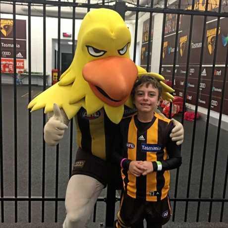 FAN: Lewis Sipp is a keen Hawthorn Hawks fan.