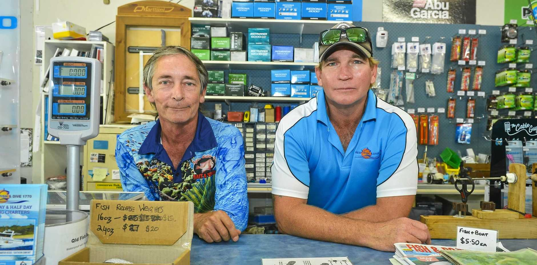 Tony Lunn of Agnes Water/1770 Bait and Tackle, with Dan Cremer of Reef Fish and Dive 1770, say the local economy is being negatively impaced by the sitation at Round Hill Creek.