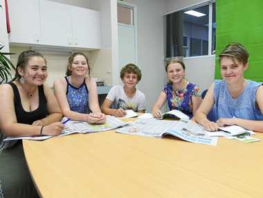 KEEN WRITERS: Mackinley Cable (Yr 8), Halle Ensby (Yr 8), Will Price (Yr 7), Tiffany Logan (Yr 8), and Natasha Clausen (Yr 9) from Grafton High School visit The Daily Examiner to learn the ropes of making a newspaper.
