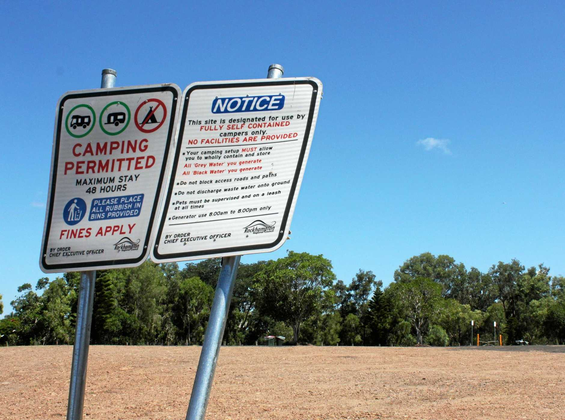 CAMPING CHAOS: The free camping area at Kershaw Gardens was empty yesterday after Rockhampton caravan park owners took legal action through Caravan Parks Association Queensland against Rockhampton Regional Council to cease the operation.