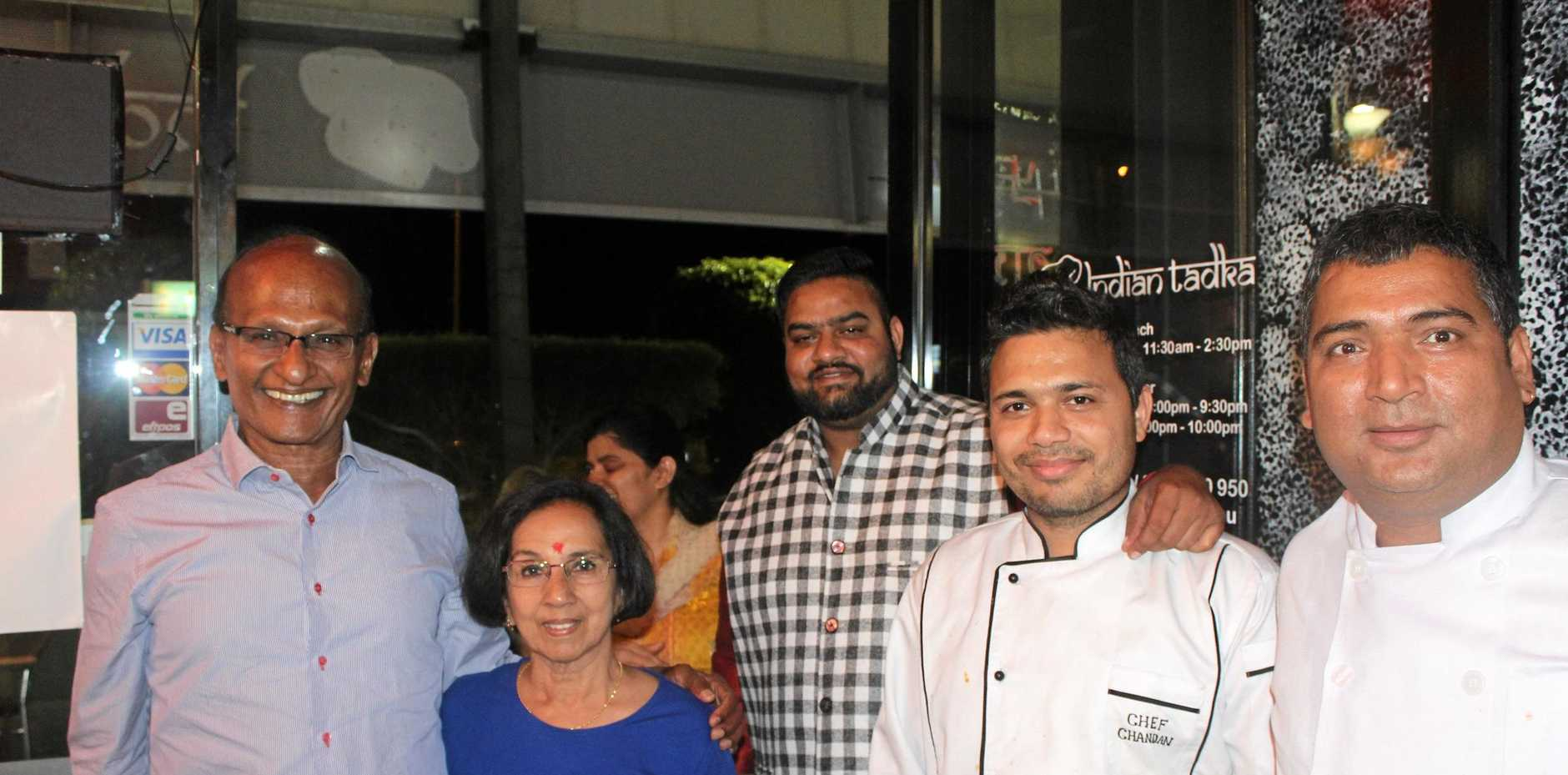 Augustine Heights' Indian Tadka restaurant held its grand opening at the weekend. L-R: Springfield Land Corporation chairman Maha Sinnathamby with wife, Yoga, Indian Tadka co-owner and manager Siddharath Tripathi, head chef and co-owner Chandan Singh and co-owner and chef Dhanpal Rana.