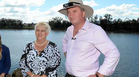Michelle Landry and Barnaby Joyce in Rockhampton to talk about Rookwood Weir.