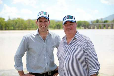 Federal Minister for Resources & Northern Australia Matt Canavan and LNP Shadow Minister for Energy, Biofuels and Water Supply Michael Hart announcing their support for Rookwood Weir.