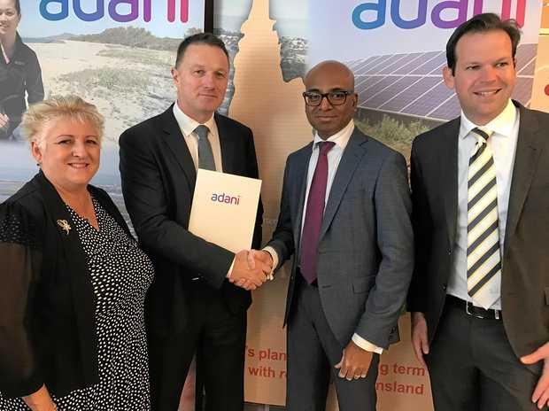 GREEN LIGHT: MP Michelle Landry (left), Senator Matt Canavan, AusTrak General Manager Murray Adams and Adani Australia Chief Executive Jeyakumar Janakaraj.