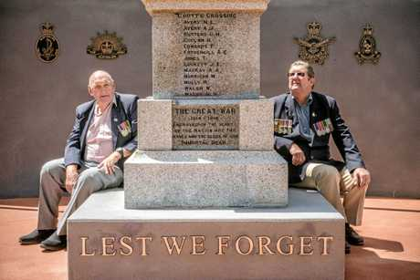 South Grafton RSL Sub branch president Bob Hayes and ccenotaph committee chair Fred Norris get ready for the upcoming dedication of the new cenotaph at South Grafton.