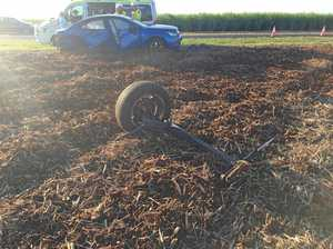 Axle ripped from car in crash