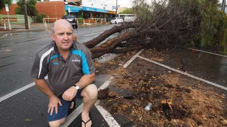 Merbein Newsagency owner Gavin Sedgmen in the main street of Merbein where trees were up rooted. Picture: Glenn Milne