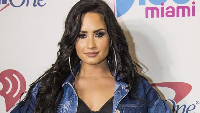 Demi Lovato, a vision in denim. Picture: AP