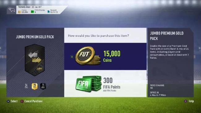 In Fifa Ultimate Team players have the option to buy bronze, silver and gold packs