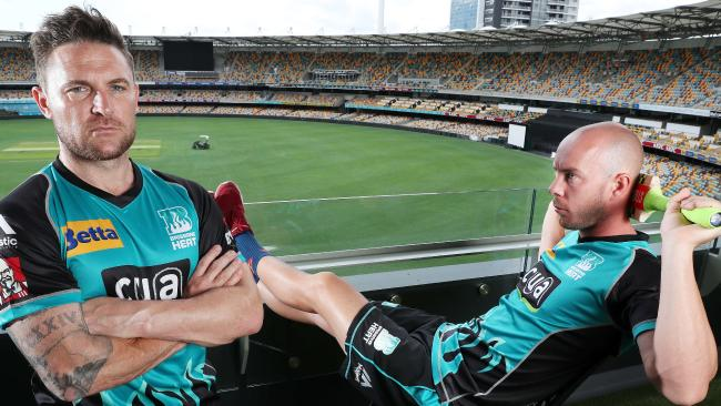 Brisbane Heat stars Brendon McCullum (left) and Chris Lynn at the Gabba ahead of their BBL opener against the Melbourne Stars.