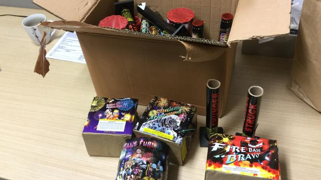 Police found a number of drugs and fireworks during a raid in Carrara. Photo: supplied