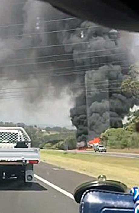 The truck crash closed the Hume Motorway after one of the trucks ignited. Picture: Seven News