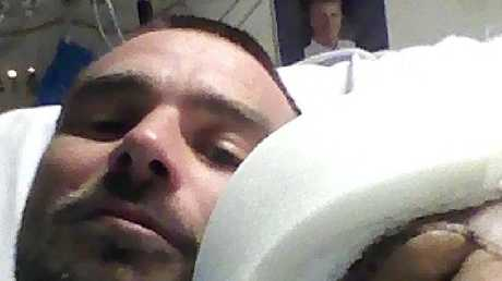 Casey Barnes and boyfriend Boyd as Casey recovers in hospital. Picture: Supplied
