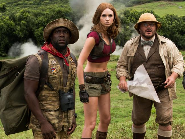 Hart, Gillan and Black sense danger ahead in Jumanji: Welcome to the Jungle. Picture: Sony Pictures