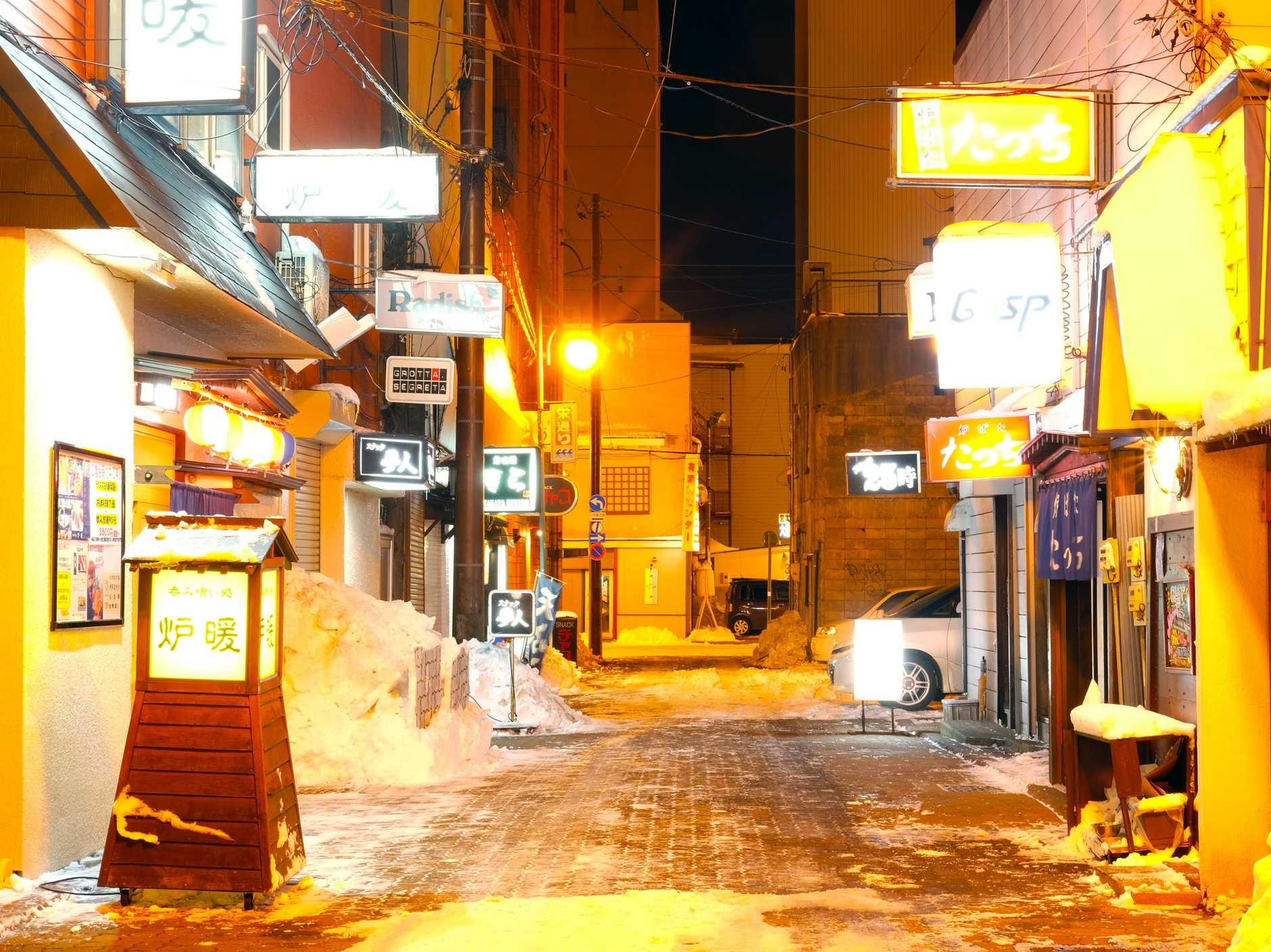 WINTER WALK:  The beautiful lights of a street Nemuro.