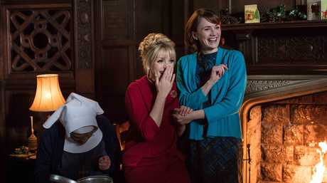 Judy Parfitt, Helen George and Charlotte Ritchie in a scene from the Call The Midwife 2017 Christmas special.