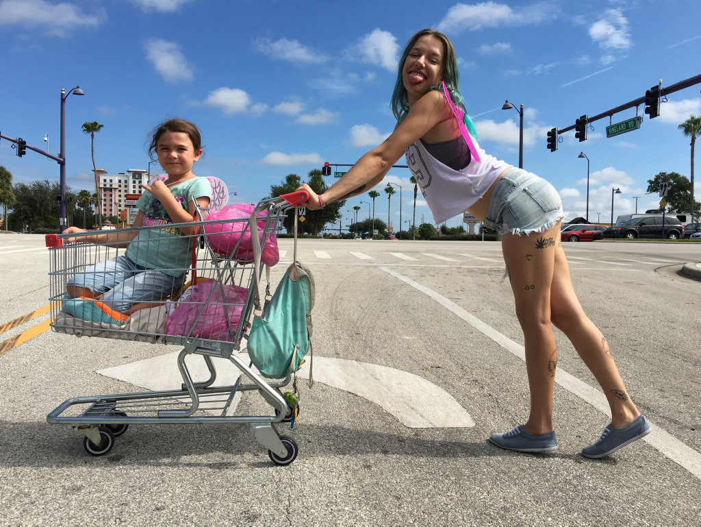 Brooklynn Prince and Bria Vinaite in a scene from the movie The Florida Project.